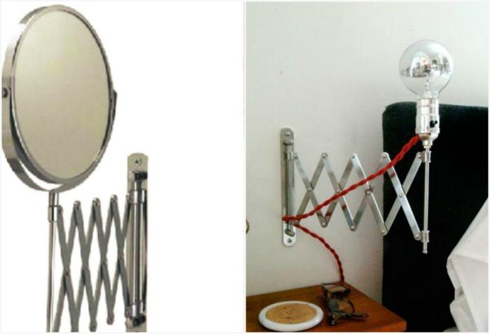 Настенный светильник из основания зеркала.