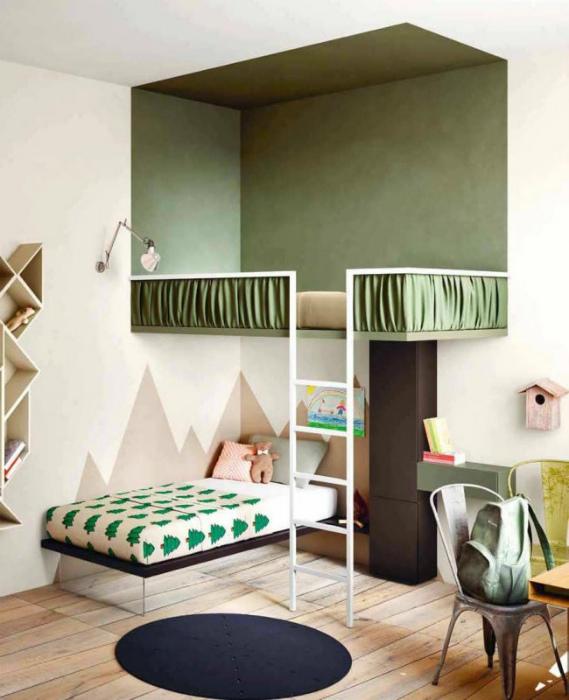 Контрастные решения в оформлении спальни.