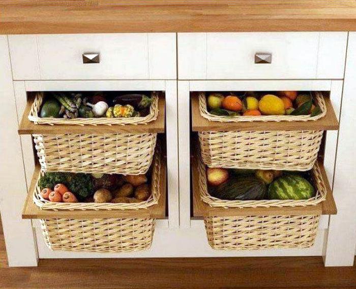 Выдвижные корзины с овощами. | Фото: Знать про все.