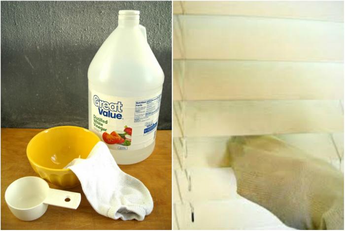 Используйте старый носок, смоченный в растворе из воды и уксуса для чистки жалюзи.