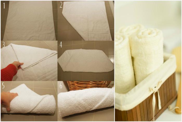 Аккуратное хранение полотенец.