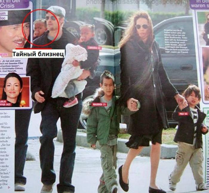Анжелина Джоли, Бред Питт и их дети.