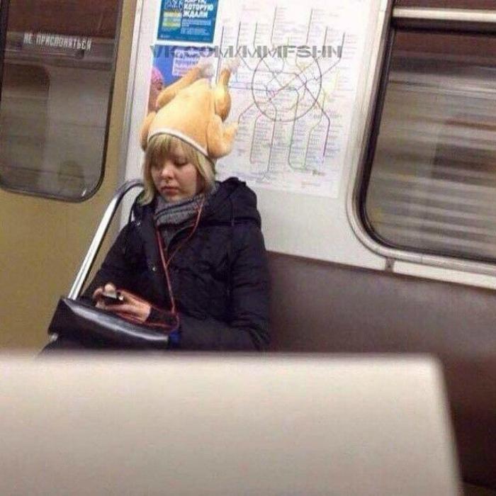 Забавная шапка.