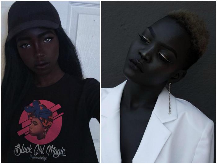 Модель с необычайно черной кожей.