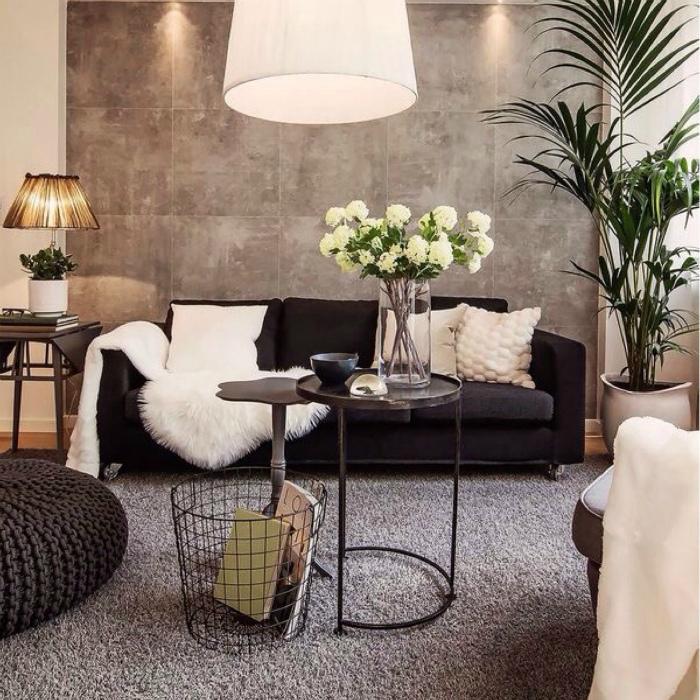 Элегантная светлая гостиная в современном стиле.