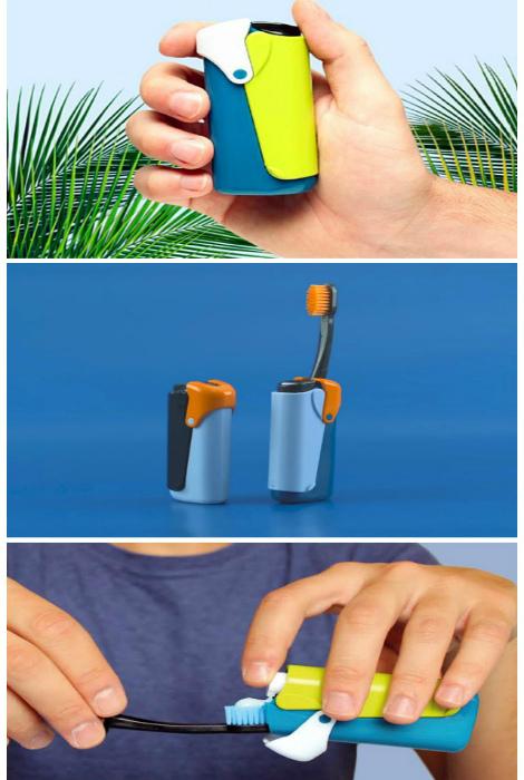Походная зубная щетка и контейнер для пасты.