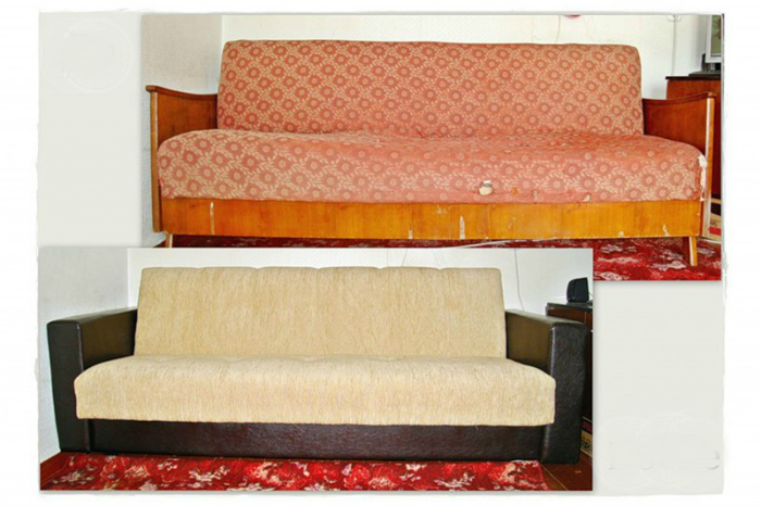 Пример реставрации старого дивана.