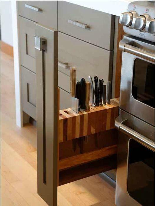 Вертикальная выдвижная подставка для ножей. | Фото: Segredos do Mundo - R7.com.