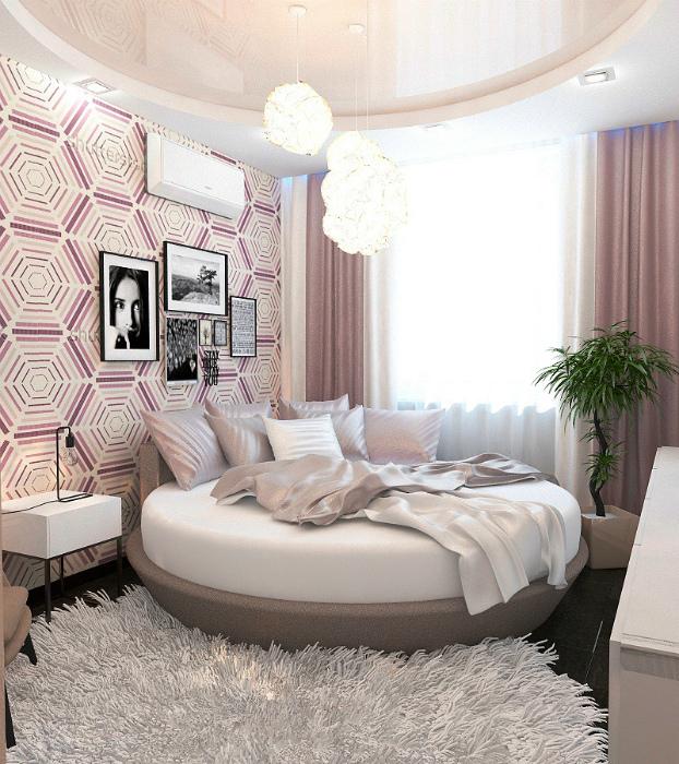 Спальня в розовых тонах.
