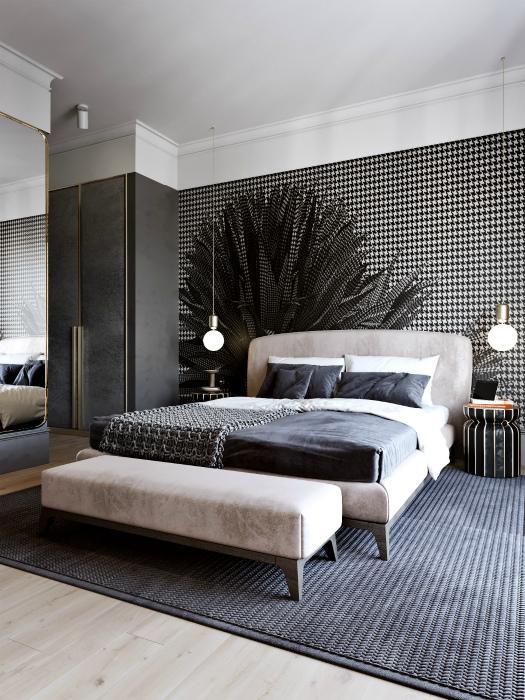 Спальня с зеркалом и объемным рисунком на обоях.