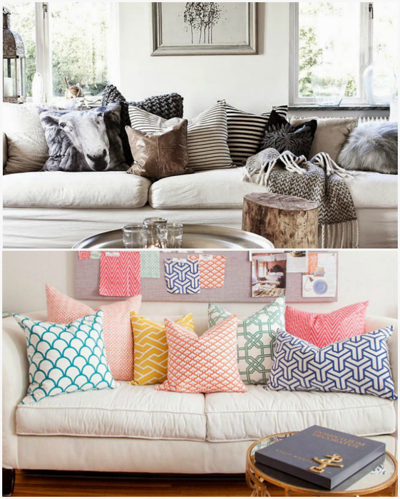 Красивые диванные подушки.