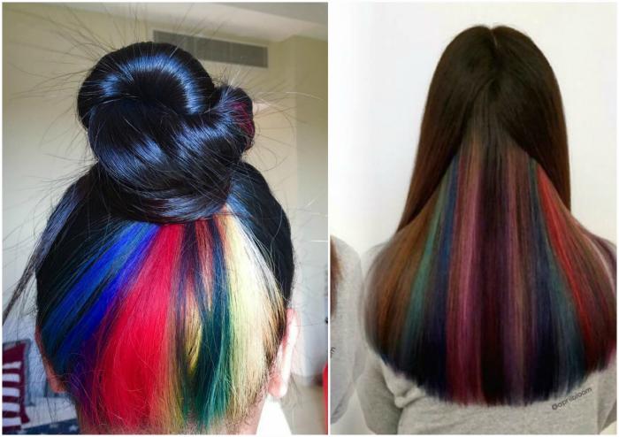 Цветные пряди под волосами.