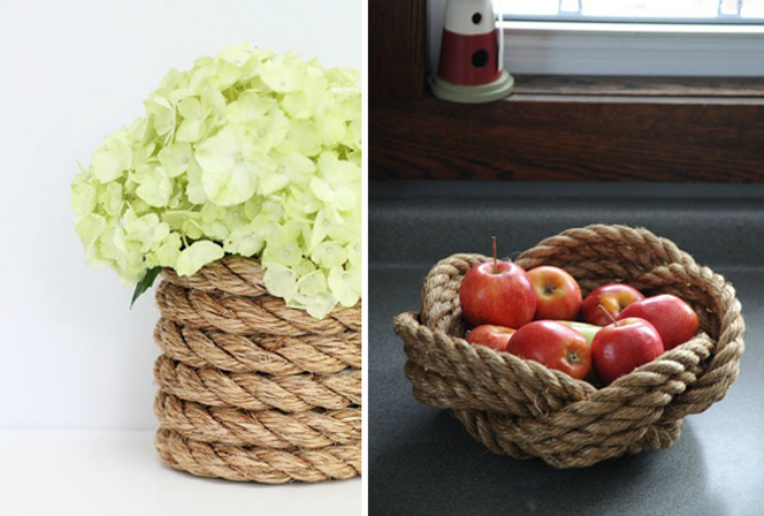 Вазы для цветов и фруктов, декорированные канатом.