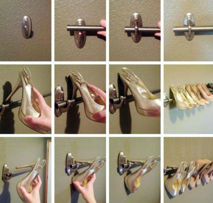 Подвесное хранение обуви. | Фото: Pinterest.