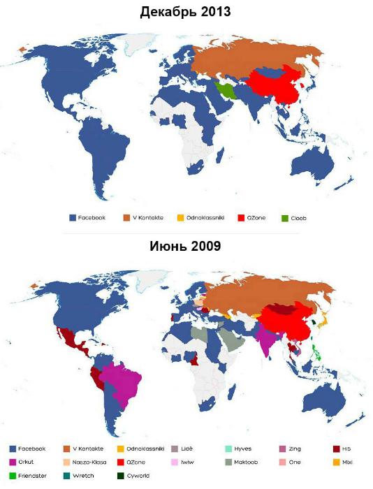 Карты мира, демонстрирующие популярность социальных сетей в мире.
