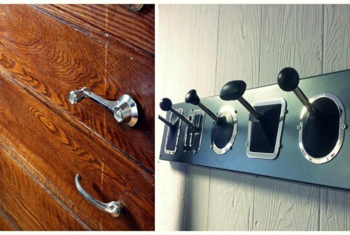 Крючки и дверные ручки из автомобильных деталей.