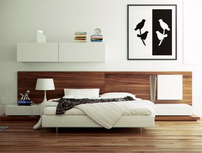 Минималистичная спальня с оригинальным дизайном изголовья кровати.