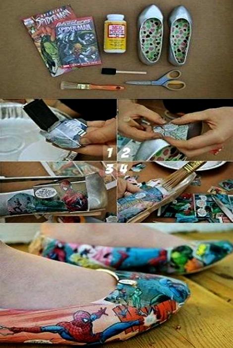 Балетки, украшенные в технике декупаж. | Фото: Pinterest.