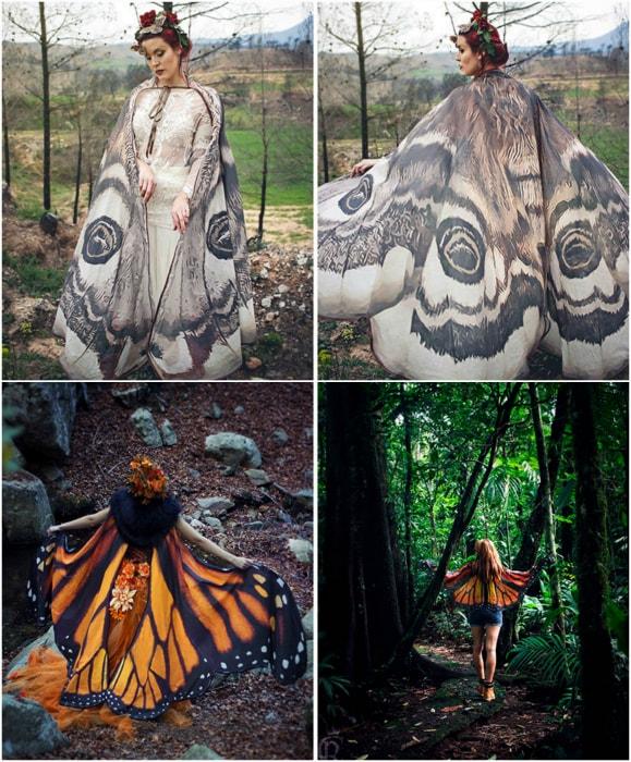 Шаль с изображением крыльев бабочки.