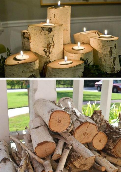 Деревянные подсвечники.