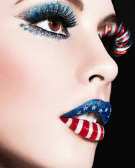 Американский флаг на губах.