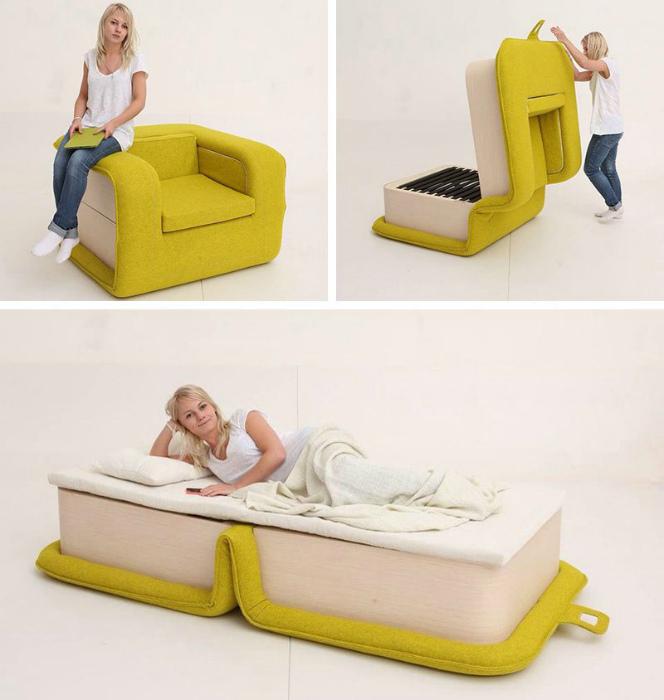 Компактное раскладное кресло. | Фото: Pinterest.