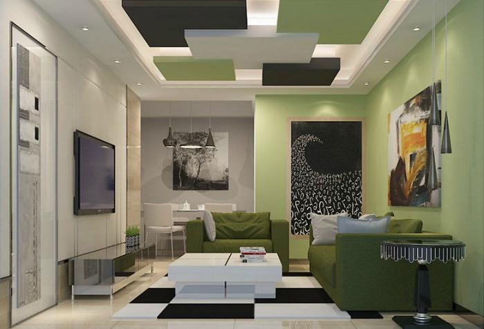 Подвесной потолок с цветными панелями.