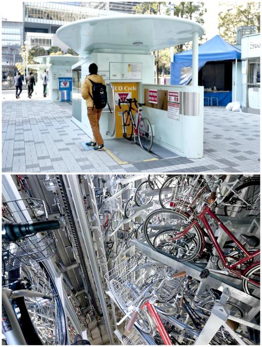 Автоматическая велосипедная парковка.