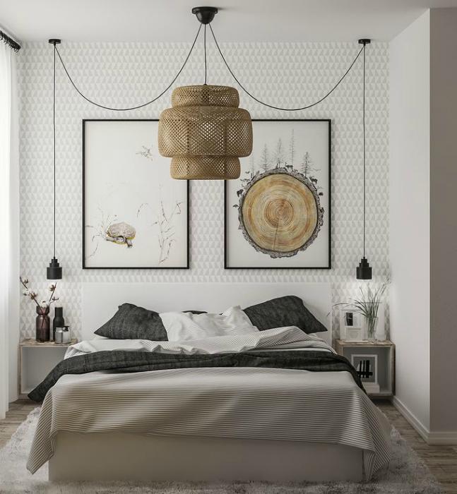 Природные мотивы в интерьере спальни.