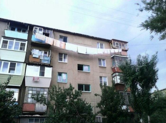 Текстильная гирлянда нашего двора. | Фото: Ribalych.ru.