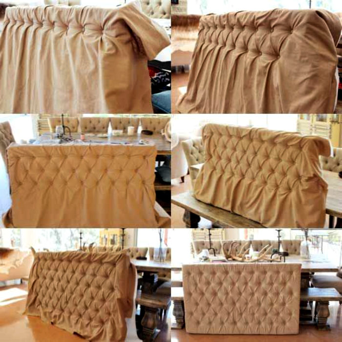 Изголовье кровати, обтянутое тканью.