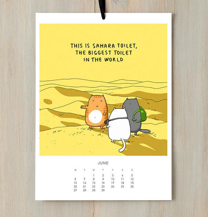 Перекидной календарь с юмористическими картинками о жизни котов.