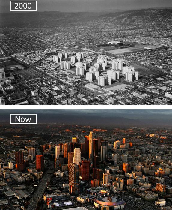 Лос-Анджелес в 2000-ом и сейчас.