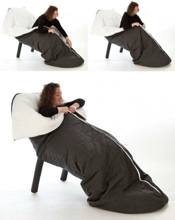 Комфортабельное кресло со встроенным спальным мешком, которое согреет даже в самый холодный день.