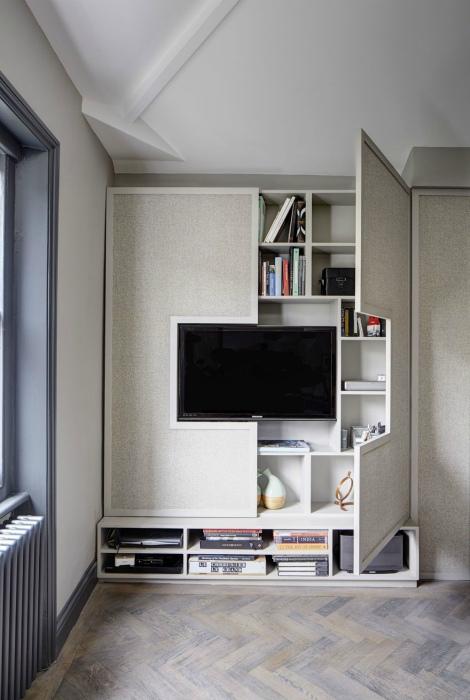 Оформление ТВ зоны в гостиной.