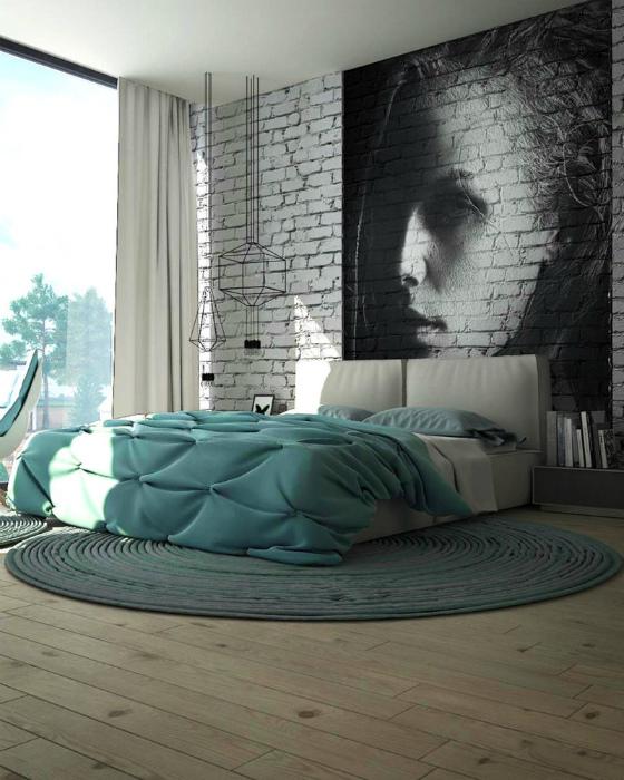 Великолепная спальня в стиле лофт.