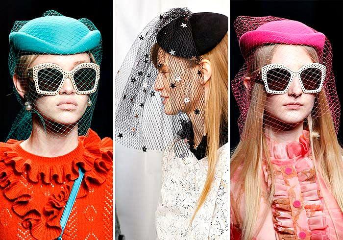 Модные шляпки-таблетки с вуалью.