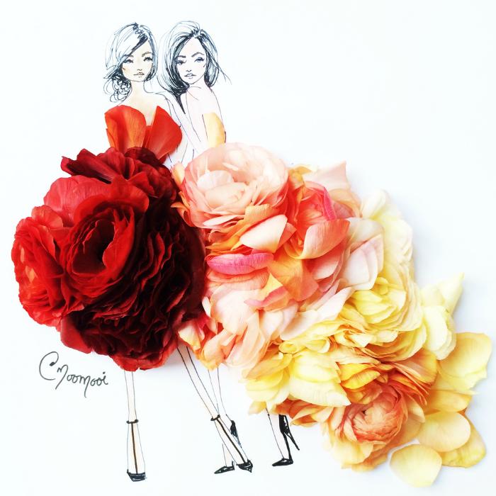Платья из лепестков роз.