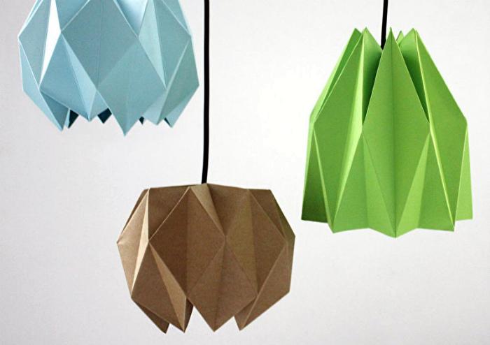Светильники из оригами.