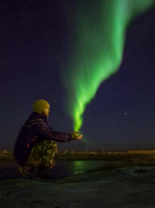 Северное сияние в ладошках. | Фото: Droll Nation.