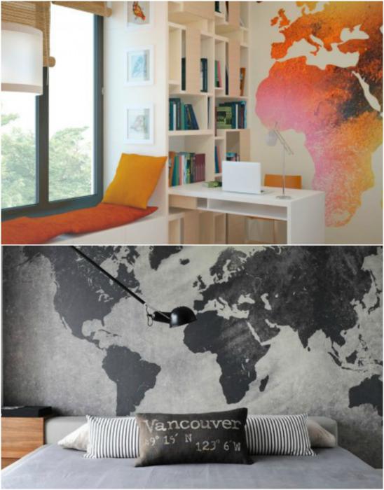 Карта мира в интерьере.