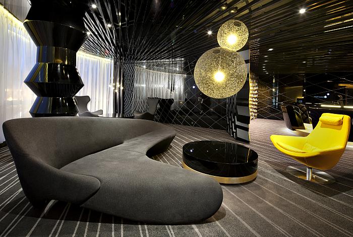 Футуристический интерьер комнаты отдыха.