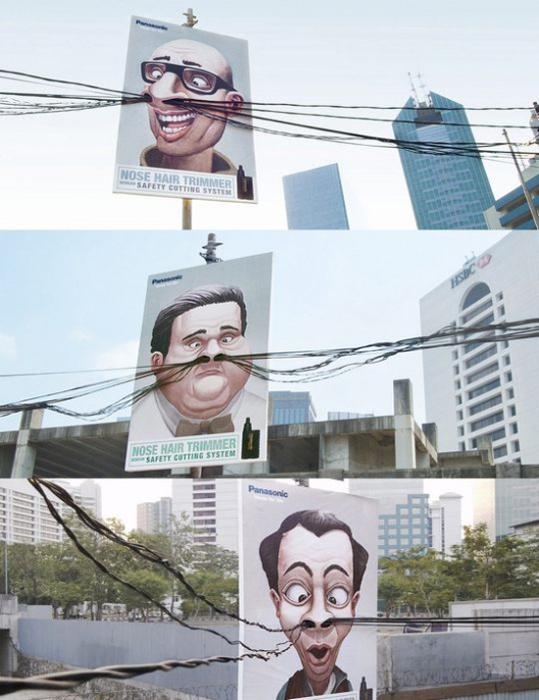 Реклама триммера Panasonic, в которой задействованы реальные провода.