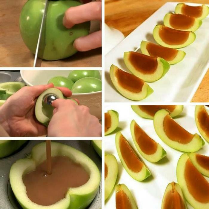 Яблоки, наполненные карамелью. Перед подачей десерт нужно хорошо охладить и нарезать дольками.