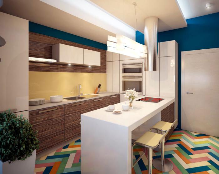 Яркая кухня с разноцветным полом.