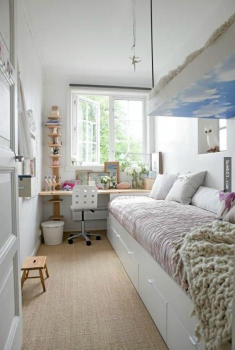Дизайн узкой комнаты.