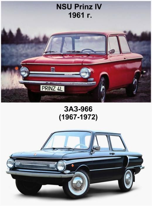 NSU Prinz IV, Германия, 1961 года и ЗАЗ 966, СССР, 1967 года.