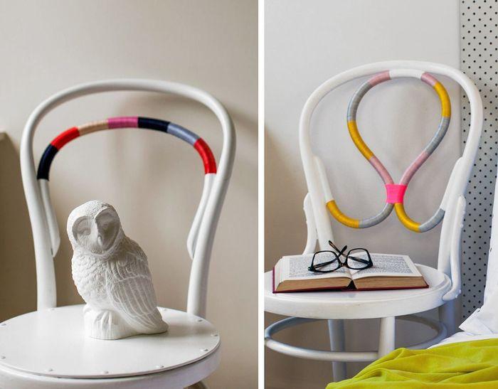 Спинка стула, декорированная яркими нитками.