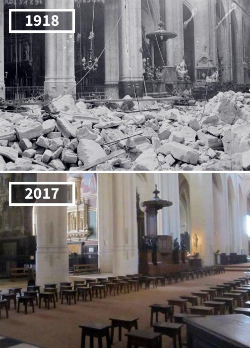 Церковь Сен-Жерве-Сен-Проте, Париж в 1918 и 2017.