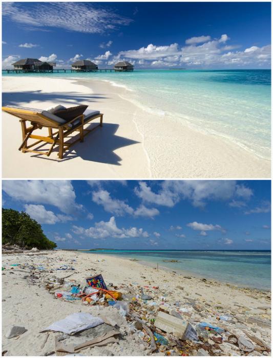 Пляж на Мальдивах.